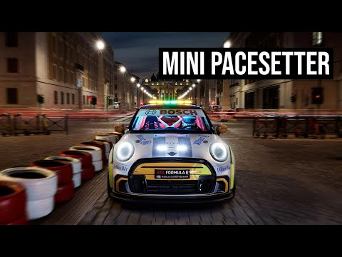 MINI Electric Pacesetter races a train in Milano