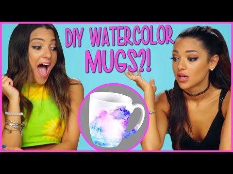 DIY WATERCOLOR MUGS?! | Niki and Gabi DIY or DI-Don't