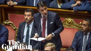 Italian PM Giuseppe Conte attacks Matteo Salvini in resignation speech