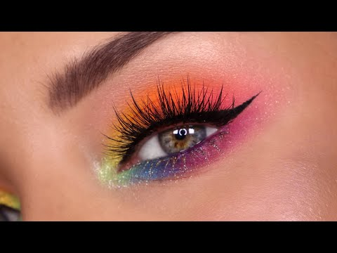 Rainbow Eyeshadow for PRIDE \ Colourful Makeup Tutorial feat. Lunar Beauty, Coloupop + More
