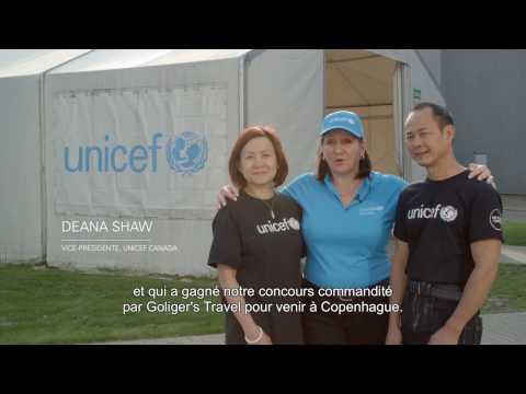 Visite exclusive de l'entrepôt de l'UNICEF avec les gagnants du concours.