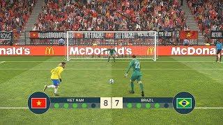 VIETNAM vs BRAZIL - PENALTY SHOOTOUT - Neymar vs Quang Hai - PES19