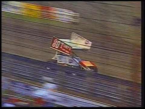 From the Kris Krohn video archives is 1996 Twin Features Night! Bruce Williams and Randy Martin score wins in the 360 division while Danny Lasoski sweeps the twin 20-lap main events in the 410 class. - dirt track racing video image
