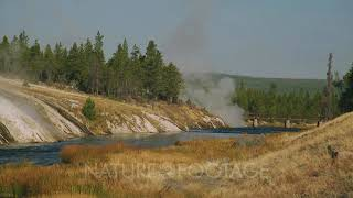 Hot Water Enters River Near Grand Prismatic Spring, Person On Distant Bridge