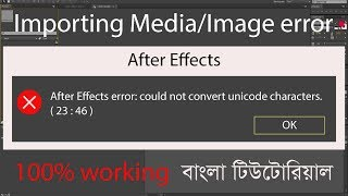 after effect error could not convert unicode characters 23 46 | Import media error