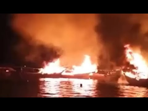 Breaking: 7 Iranian Ships Ablaze After Attack