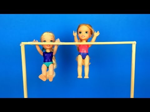 Gymnastics class ! Elsa and Anna toddlers learn new tricks - Barbie is the coach - exercises - UCQ00zWTLrgRQJUb8MHQg21A