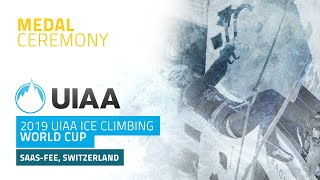 Medal Ceremony l 2019 UIAA Ice Climbing World Cup l Saas-Fee, Switzerland