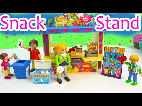 Playmobil Snack Food Stand Playset Toy Review & Surprise Mystery Figure Blind Bag Opening - UCelMeixAOTs2OQAAi9wU8-g