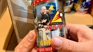 OPENING UP A WEIRD CASE OF CANS WITH BASEBALL CARDS INSIDE! (1997 PINNACLE INSIDE CASE BREAK)