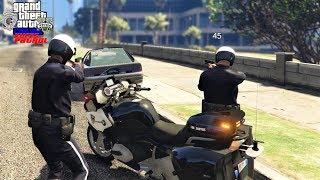 GTA 5 Roleplay #399 Los Santos Police Motorcycle Cops Shot At On Traffic Stop - KUFFS FiveM