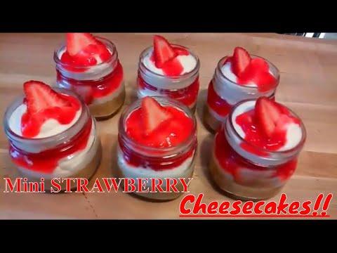 Easy Homemade STRAWBERRY Cheesecakes in a Jar Recipe /  Kiwanna's Kitchen - UCxWFay423FbCZ6-ot758-NA