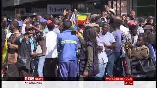 Protests turn violent (Zimbabwe) - BBC News - 16th August 2019