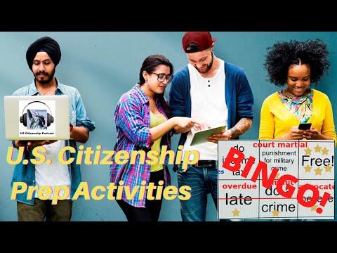 U.S. Citizenship Prep Activities 1: Part 12 Vocabulary Bingo