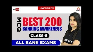 3:55 PM - BEST 200 MCQ BANKING AWARENESS  - CLASS - 5 - ALL BANK EXAMS