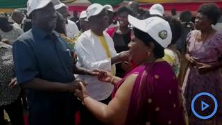 ODM leader Raila joins a group of women in a dance during a function at his Opoda Farm