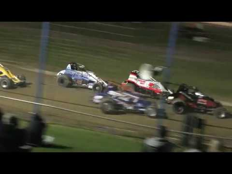 The major moment during the Six Shooter Feature at Waikaraka Park Speedway 15 Dec 2018 - dirt track racing video image