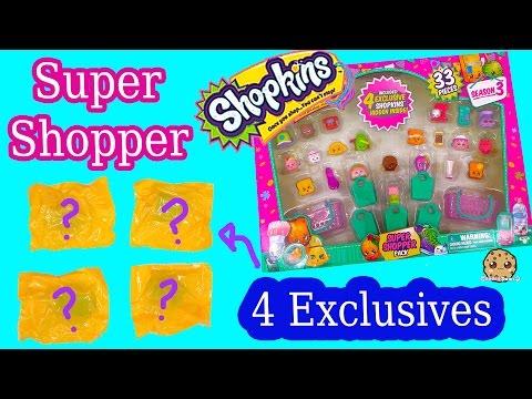 Shopkins Season 3 SUPER SHOPPER 33 Pieces Set with 4 EXCLUSIVE BLIND BAGS - Cookieswirlc Video - UCelMeixAOTs2OQAAi9wU8-g