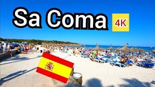 ⁴ᴷ SA COMA walking tour 🇪🇸 shops bars and beach, Mallorca Spain (Majorca)