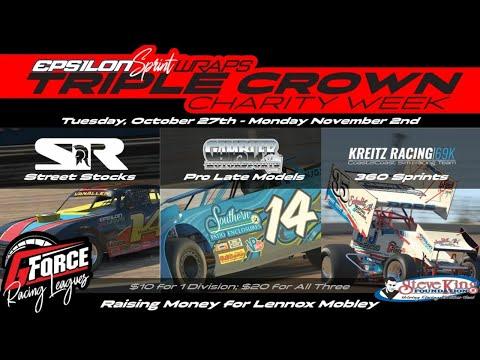 iRACING - 10/28/2020 - GForceTV Racing League TRIPLE CROWN CHARITY WEEK (360 Sprints) - dirt track racing video image