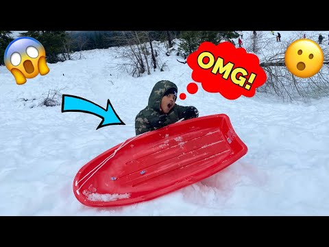 TAVION FLEW OFF THE SLED! Sledding at Crystal Springs Snoqualmie Pass *The Nev Fam*