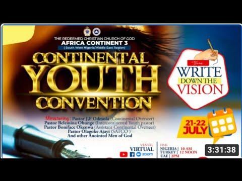 RCCG AFRICA 3 CONTINENT  YOUTH CONVENTION 2021 - DAY 2