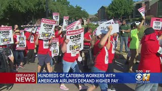Catering Workers Protest At American Airlines HQ, More Than A Dozen Arrested