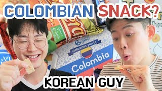 Koreans Try Colombian Snacks Korean React To Colombia Latin (SPN SUB)