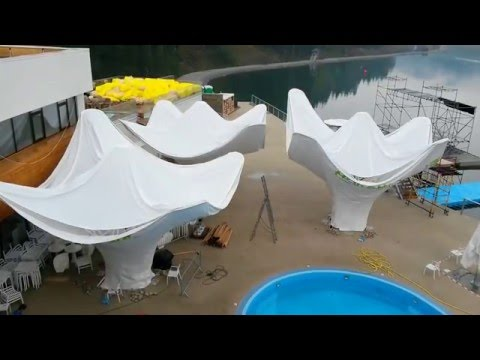 Four 170 sqm area of umbrellas - transformer designed and produced in Ukraine less than 90days us at