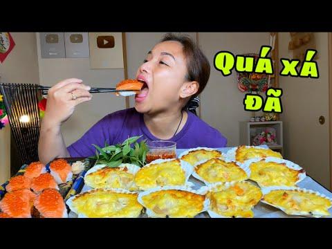 Chén sạch mâm sò điệp nướng phô mai & sushi trứng cá hồi siêu béo #997