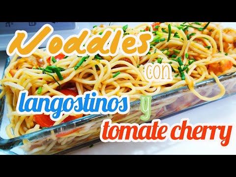 Noodles Thermomix | Fideos chinos con langostinos y tomate cherry