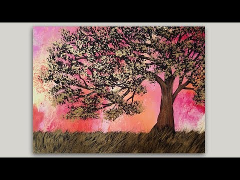 Golden Surreal Fantasy Tree Acrylic Painting by