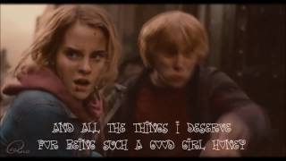 Underneath Your Clothes [Lyrics Video Full HD] (Harry Potter Edition) (Ron & Hermione)