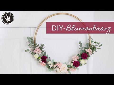 DIY – BLUMENKRANZ selber machen | Wanddeko | HOCHZEITSDEKO | Hula Hoop Reifen, Kunstblume, Eucalytus