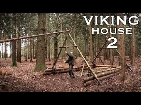Building a Viking House in the Forest: Timber Frame   Bushcraft Project (PART 2)