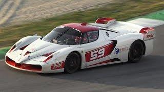 Ferrari FXX Evoluzione In Action at Mugello Circuit – Accelerations, Flames  Downshifts!