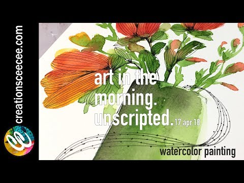 painting florals with a filbert watercolor brush