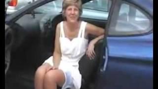 Mature upskirt in car