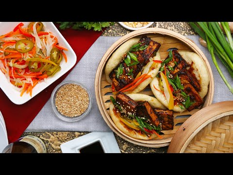 How to Make a Glazed Tofu Steamed Bun with Pickled Vegetables Recipe ? Tasty
