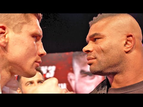 ALISTAIR OVEREEM LOCKS EYES WITH RICO VERHOEVEN IN FIRST FACE TO FACE AT KICK OFF PRESS CONFERENCE