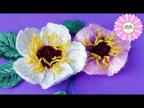 3D Embroidery | hand embroidery amazing trick | wool flower