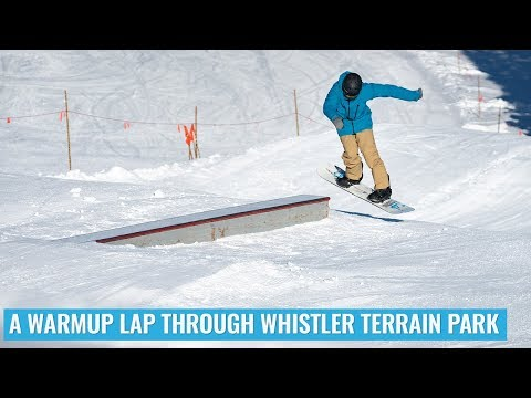 A Snowboard Warmup Lap Through Whistler Terrain Park With Nev