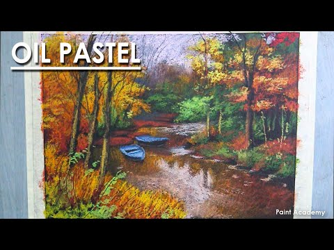 Oil Pastel Drawing : A Beautiful Composition on Autumn | step by step coloring | Artist : Supriyo