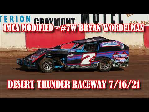In Car - IMCA Modified - #7w Bryan Wordelman - Desert Thunder Raceway 7/16/21 - dirt track racing video image