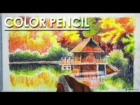 How to Draw An Beautiful Autumn Scenery in Color Pencil | step by step