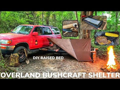 Solo Overnight Building an Overland Bushcraft Shelter In The Woods and Campfire Ribeye With Corn.