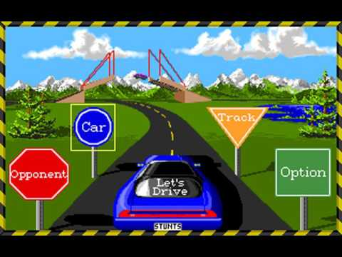 Stunts (a.k.a. 4D Sports Driving) (Distinctive Software) (MS-DOS) [1990]