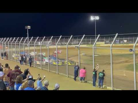 Stock car racing down in Oklahoma. Outlaw Motor Speedway. - dirt track racing video image
