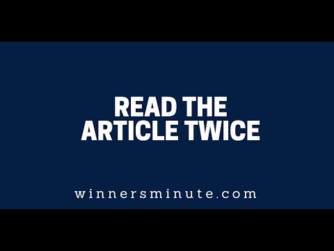 Read the Article Twice  The Winner's Minute With Mac Hammond