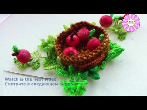stump work | How to embroider an apple basket
